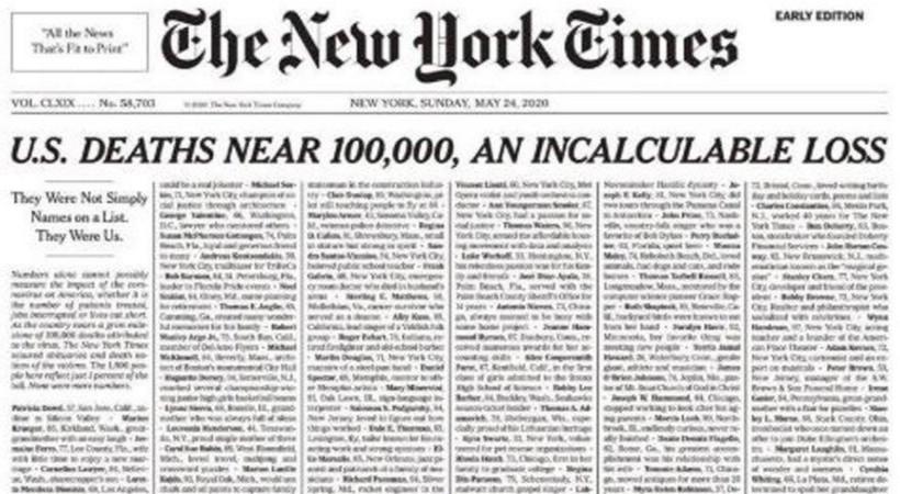 New York Times'tan çarpıcı corona birinci sayfası