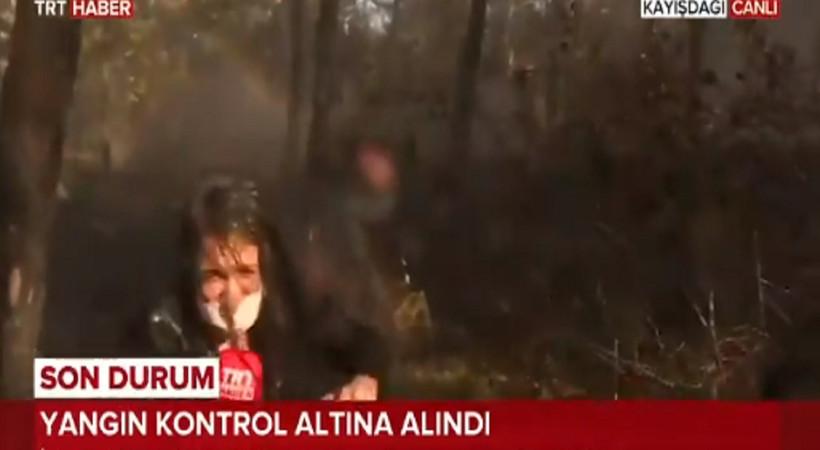 TRT Haber muhabirinin canlı yayındaki zor anları