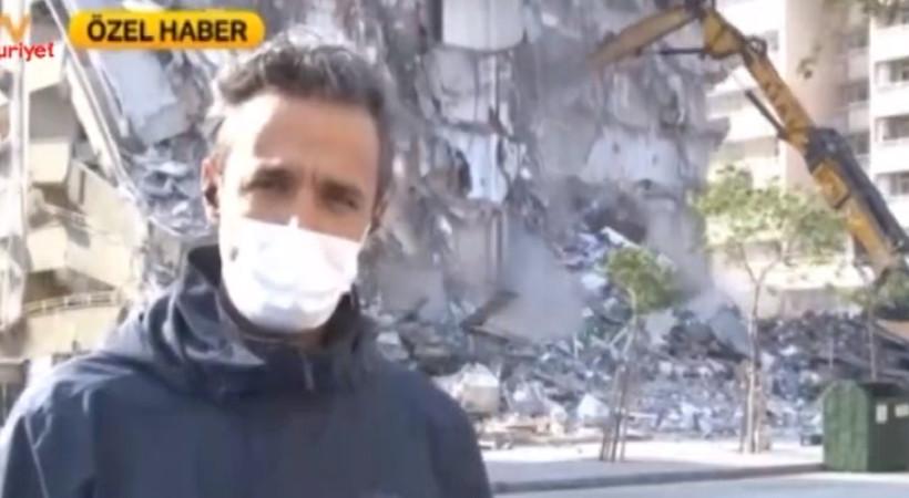 Muhabir anons ederken bina bir anda çöktü