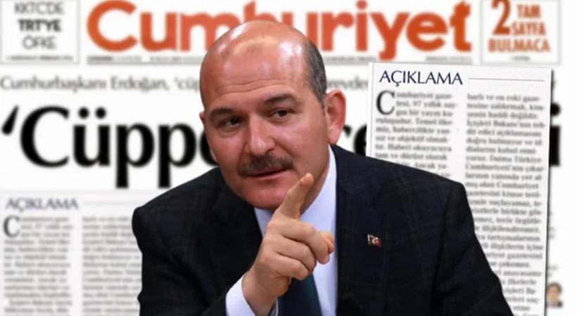 Cumhuriyet gazetesinden Süleyman Soylu'ya yanıt!