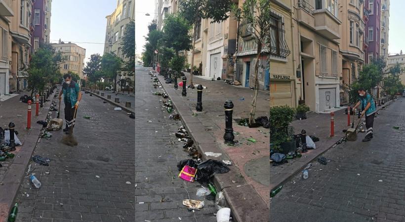 Cengiz Semercioğlu, Cihangir'de cumartesi gecesi parti yapanların geride bıraktığı çöp rezaletini görüntüleyip, yazdı... İşte çöp rezaleti...