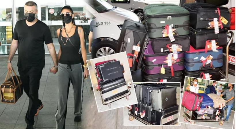 Amerika'da yaşayan Süreyya Yalçın ve eşi Ozan Baran, Bodrum'a tam 46 bavulla geldi...