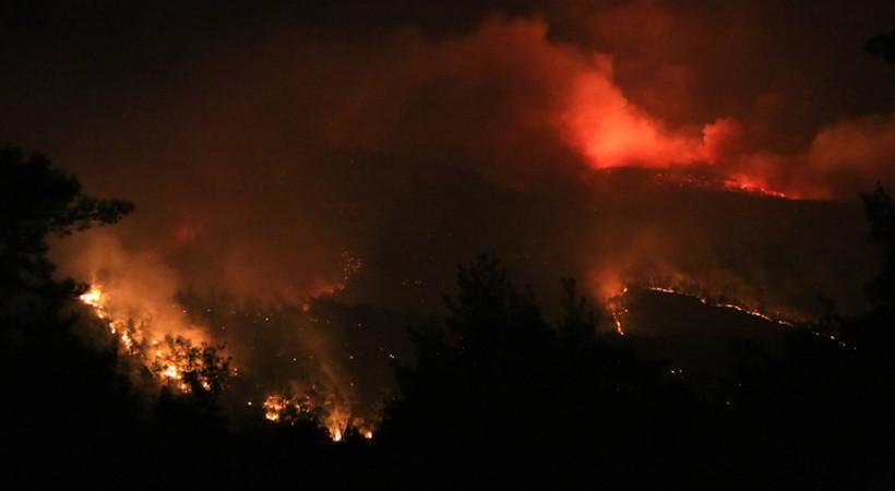 Bodrum'da gün içinde üç ayrı yerde yaşanan yangın akşam saatlerinde Mazı'da felakete dönüştü. Tatilciler kumanya yağdırdı...