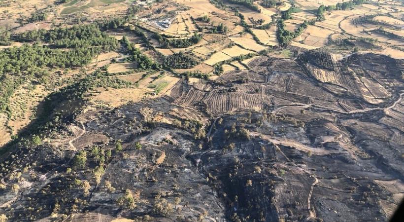 Bodrum ve Milas'ta yanan alanlar havadan görüntülendi