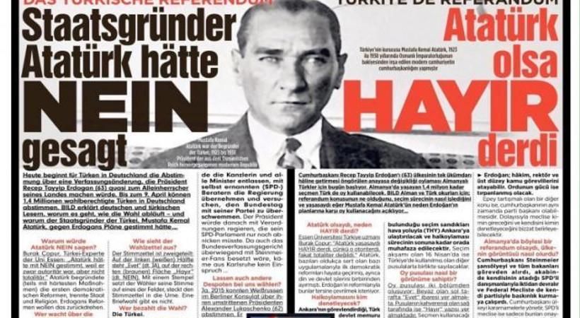 Alman Bild gazetesinden Atatürk manşeti: Yaşasaydı 'Hayır' derdi