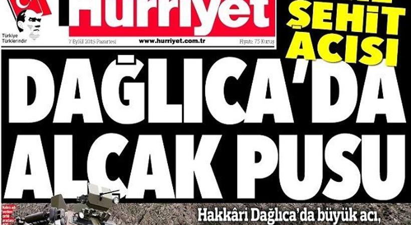 Dağlıca gazete manşetlerinde. Türkiye'yi yasa boğan saldırıyı hangi gazete nasıl verdi?