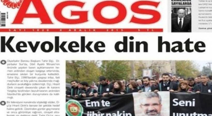 Agos 'Bir güvercini daha vurdular' manşetiyle çıktı