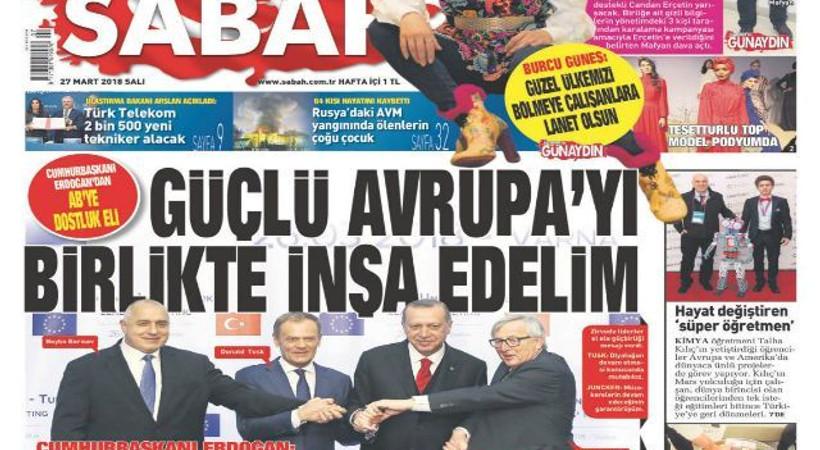 'Hürriyet yazarı gözüyle Sabah'ın dünkü manşeti'