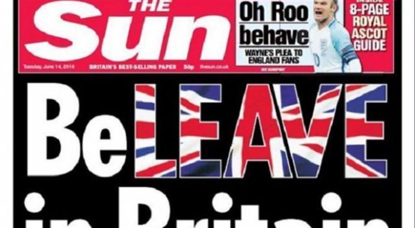 İngiltere'nin AB'den ayrılma kampanyasına Sun gazetesinden destek
