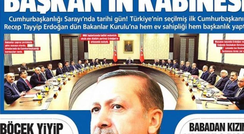 Hükümet yanlısı medya, başkanlık dönemini manşetten ilan etti!