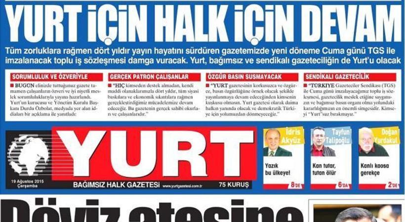 İstifa depremiyle sarsılan Yurt gazetesi hangi manşetle çıktı, yoluna nasıl devam edecek?