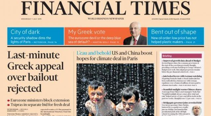 Herkes ne olacağını bekliyor! Financial Times'ın Yunanistan haberi, dünya gündemini sarstı!