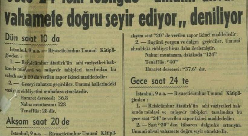 Atatürk'ün vefat haberi 81 yıl önce böyle verildi