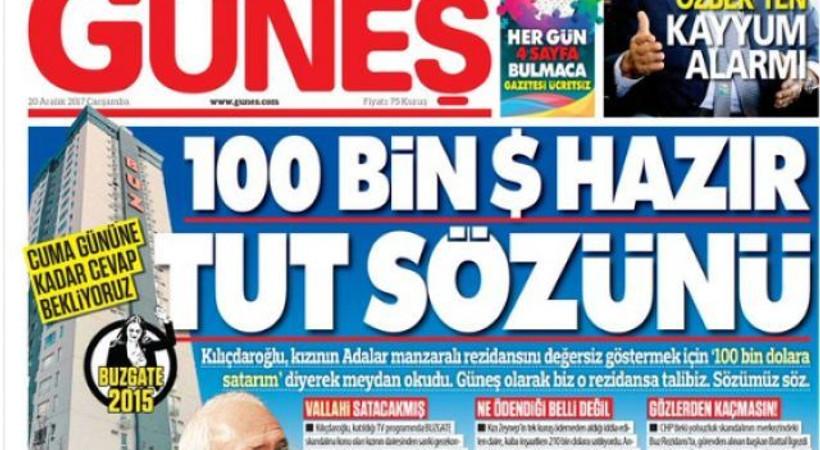 'Güneş gazetesi 100 bin doları hazır etsin'