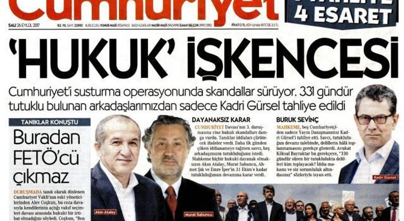 1 tahliye 4 esaret! İşte, Cumhuriyet'in bugünkü manşeti...