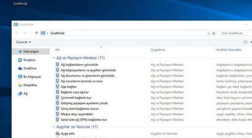 Windows 10'a 'Tanrı' modu!