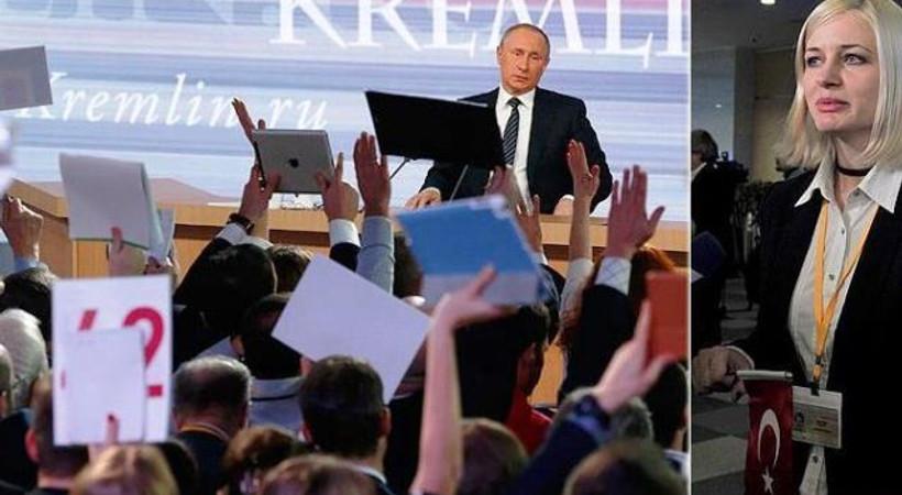 AA muhabirinden Putin'e Türk bayrağıyla soru