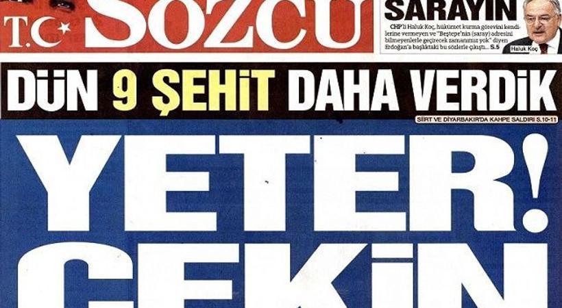 Kara haber manşetlere de düştü