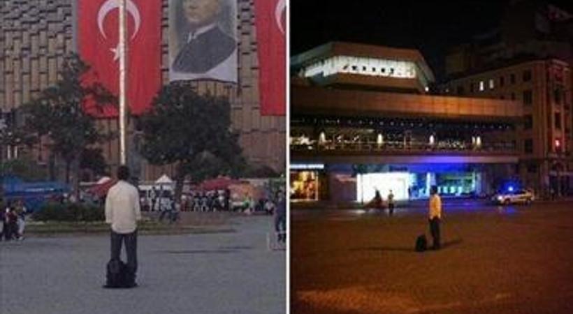 Polis  'Duran Adam'ı Taksim'den uzaklaştırdı