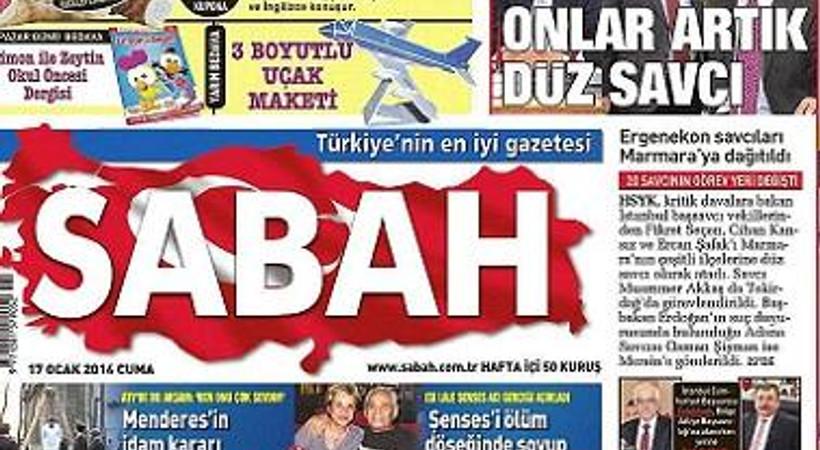 Sabah, Zaman'a bugünkü manşetinden cevap verdi!