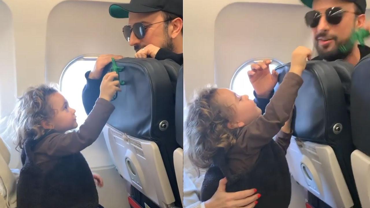 Tarkan, Gülşen'in oğluyla uçakta oyun oynadı