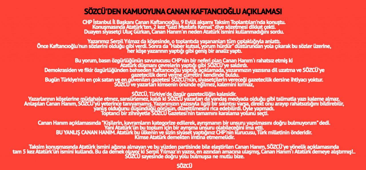 Sözcü'den Canan Kaftancıoğlu'na sert yanıt: Gazetecilik dersine ihtiyacımız yok