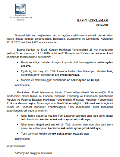 BDDK'dan kredi kartı taksitlerine düzenleme!