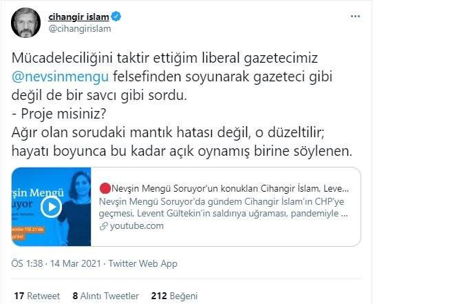 Cihangir İslam'dan Nevşin Mengü'ye tepki! 'Gazeteci gibi değil de bir savcı gibi sordu!'