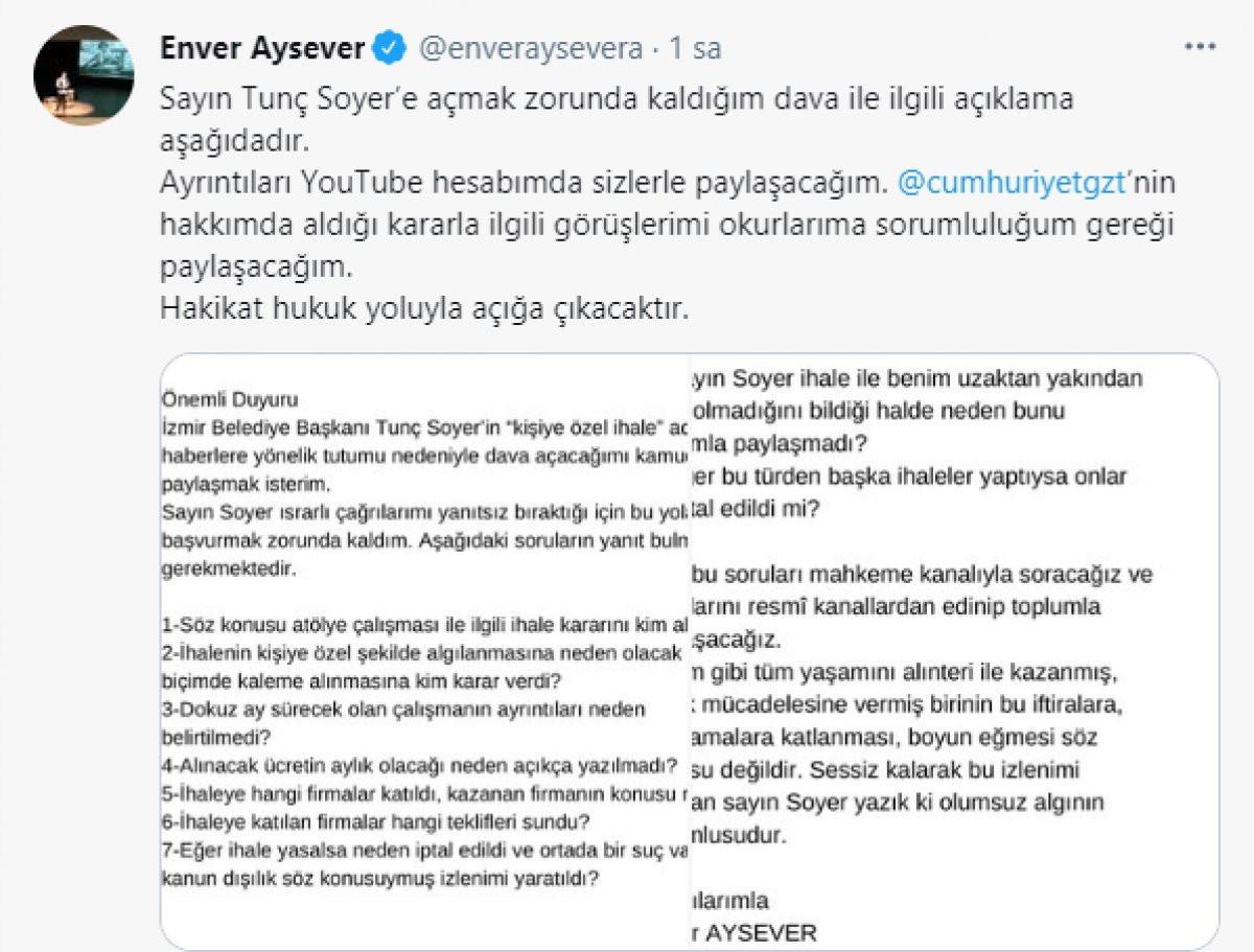 İhale tartışmasında ikinci perde... Enver Aysever Tunç Soyer'e dava açıyor!