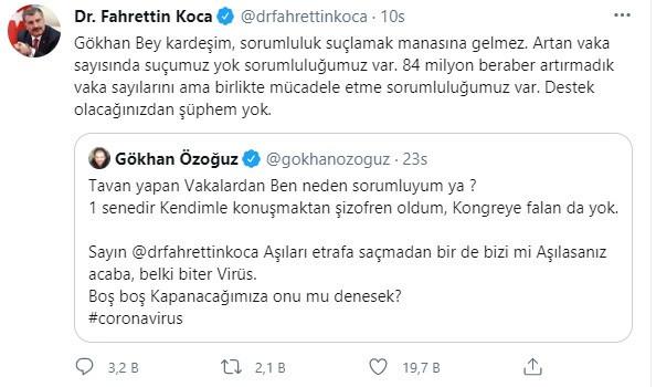 Bakan Koca'dan Athena Gökhan'a sosyal medyada aşı cevabı!
