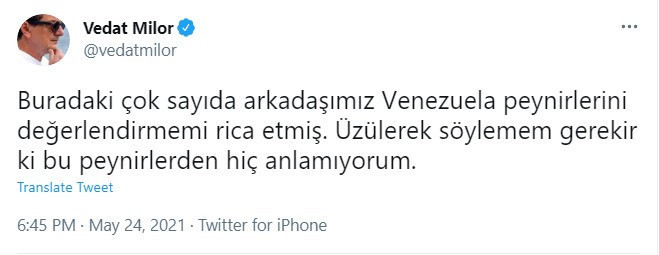 Vedat Milor, 'Venezuela peyniri' yorumuyla güldürdü.